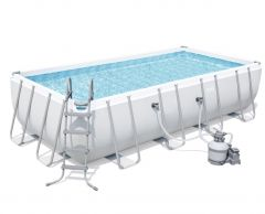 "18' x 9' x 48"" Bestway Power Steel Rectangle Pool Set"
