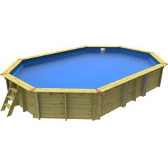 7.02m x 5m Stretched Octagonal Plastica Eco Wooden Pool